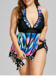 Ruffle Trim Butterfly Print Plus Size Tankini Set