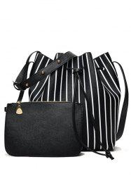 Pouch Bag and Stripe Bucket Bag - BLACK