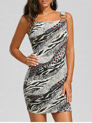 Metal Decorated Leopard Insert Mini Dress - COLORMIX