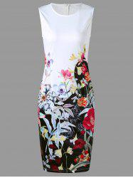 Flower Print Sleeveless Pencil Dress - WHITE