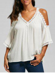 Laced Cold Shoulder Top - WHITE