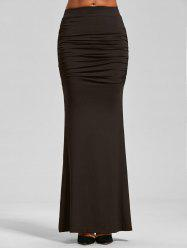 High Waist Ruched Maxi Trumpet Skirt - DARK COFFEE