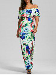 Flounce Off The Shoulder Floral Maxi Dress