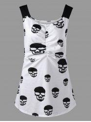 Skull Print Ruched Plus Size Tank Top - WHITE XL