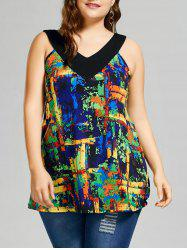 Plus Size Graphic V Neck Top