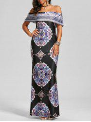 Vintage Print Pattern Off The Shoulder Long Dress - BLACK