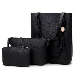 Tassel 3 Pieces Handbag Set - BLACK