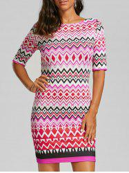 Chevron Zipper Back Sheath Dress
