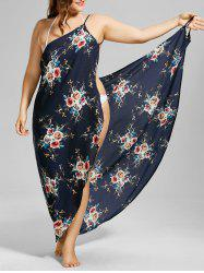 Robe cover up de plage florale taille plus - Bleu Violet 2XL