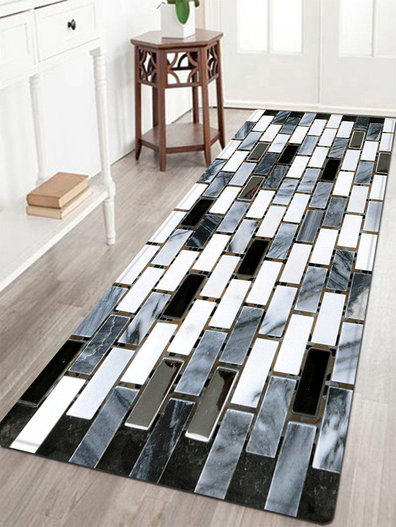 Ceramic Tile Pattern Anti-skid Water Absorption Area RugHOME<br><br>Size: W24 INCH * L71 INCH; Color: BLACK WHITE; Products Type: Bath rugs; Materials: Flannel,Plastic,Sponge; Style: Modern; Shape: Rectangle; Package Contents: 1 x Rug;