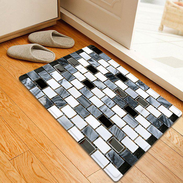 Ceramic Tile Pattern Anti-skid Water Absorption Area RugHOME<br><br>Size: W16 INCH * L24 INCH; Color: BLACK WHITE; Products Type: Bath rugs; Materials: Flannel,Plastic,Sponge; Style: Modern; Shape: Rectangle; Package Contents: 1 x Rug;