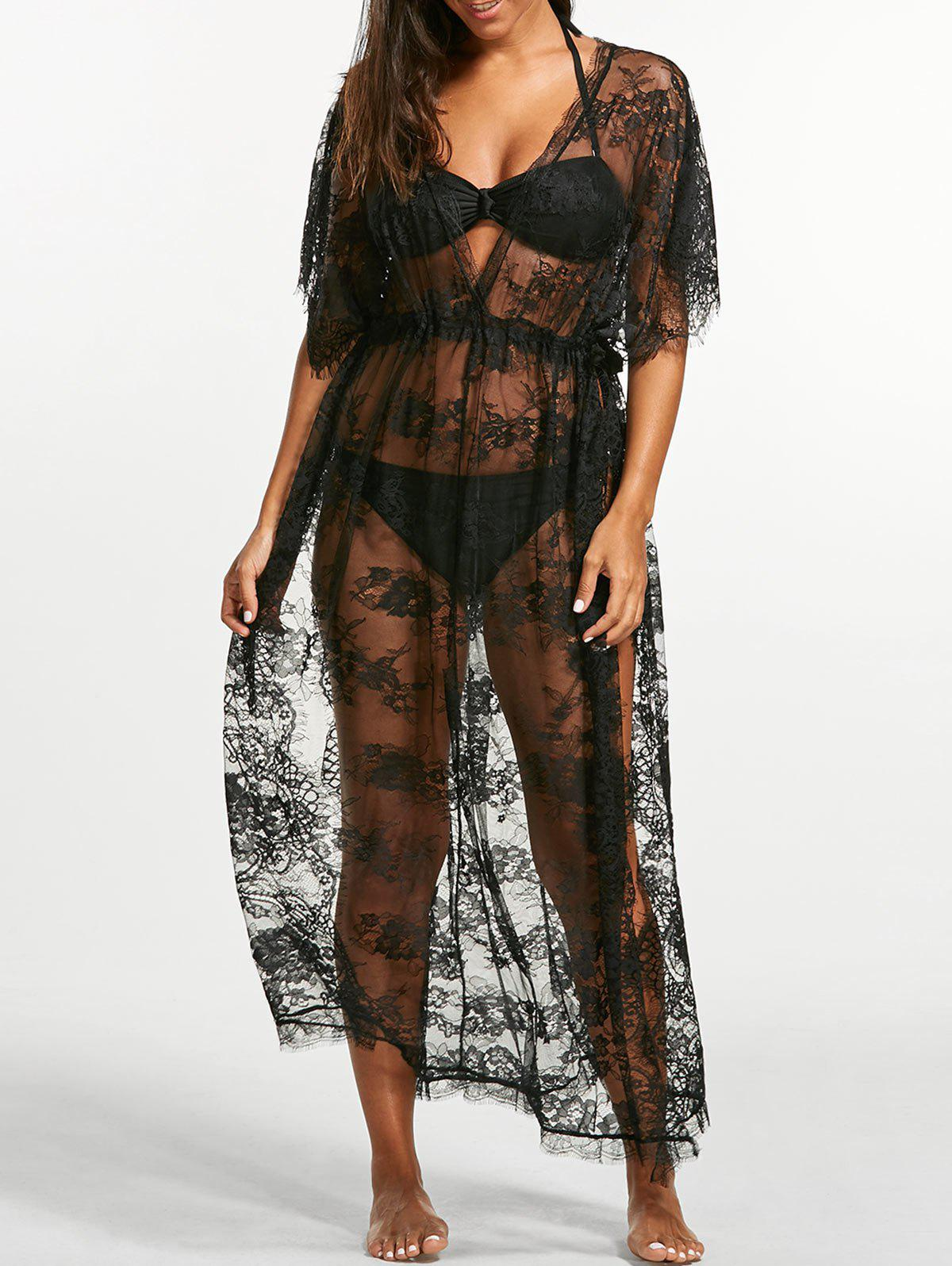 Black One Sheer Lace Maxi Cover Dress Beach