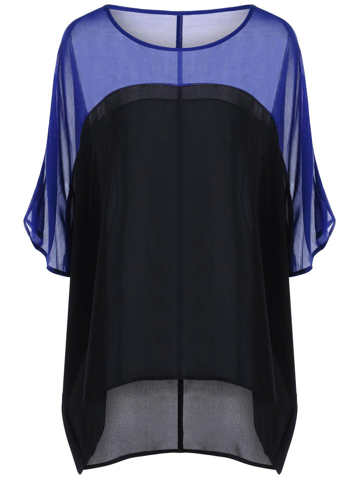 Color Block Sheer Plus Size BlouseWOMEN<br><br>Size: 2XL; Color: BLUE; Material: Polyester; Shirt Length: Long; Sleeve Length: Half; Collar: Scoop Neck; Style: Casual; Season: Summer; Pattern Type: Solid; Weight: 0.2000kg; Package Contents: 1 x Blouse;