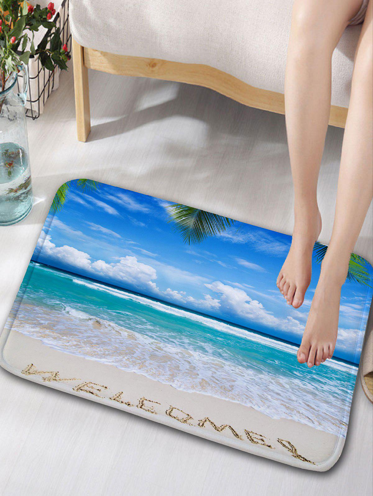 Beach Words Print Flannel Skid Resistant Bath RugHOME<br><br>Color: LAKE BLUE; Products Type: Bath rugs; Materials: Flannel; Pattern: Letter; Style: Beach Style; Shape: Rectangle; Size: W16inch*L24inch; Package Contents: 1 x Rug;