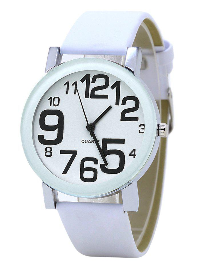 Number Faux Leather Strap Analog WatchJEWELRY<br><br>Color: WHITE; Gender: For Women; Style: Casual; Type: Quartz watch; Index Dial: Analog; Case material: Alloy; Band material: PU Leather; Movement: Quartz; Dial Shape: Round; Water-Proof: No; Case Thickness(MM): 4cm; Dial Diameter: 10mm; Band Length(CM): 24cm; Band Width(CM): 2cm; Package Contents: 1 x Watch;