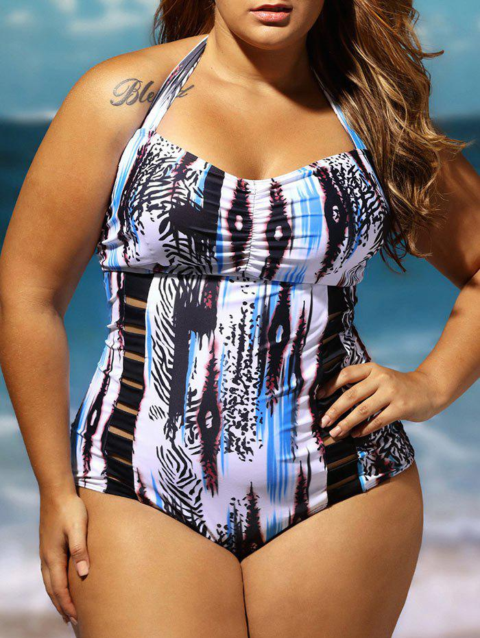 Halter Lattice Plus Size Bathing SuitWOMEN<br><br>Size: 4XL; Color: COLORMIX; Gender: For Women; Swimwear Type: One Piece; Material: Polyester,Spandex; Bra Style: Padded; Support Type: Wire Free; Pattern Type: Print; Placement Print: No; Waist: Natural; Elasticity: Micro-elastic; Weight: 0.3000kg; Package Contents: 1 x Bathing Suit;