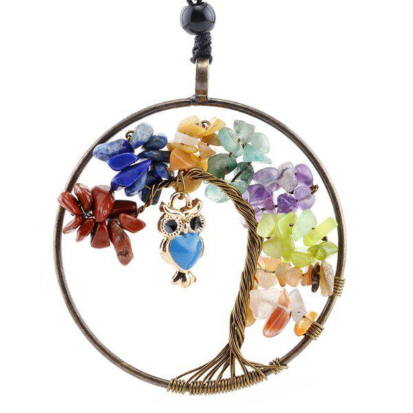 Tree of Life DIY Owl Circle NecklaceJEWELRY<br><br>Color: COLORMIX; Item Type: Pendant Necklace; Gender: For Women; Style: Trendy; Shape/Pattern: Plant; Weight: 0.0400kg; Package Contents: 1 x Necklace;