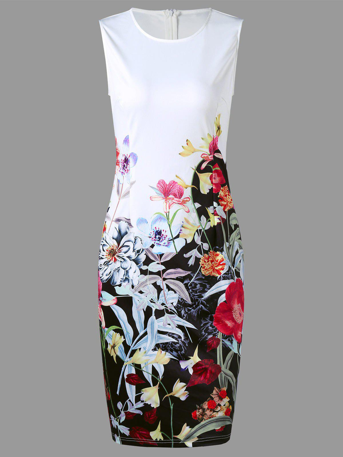 Flower Print Sleeveless Pencil Sheath DressWOMEN<br><br>Size: XL; Color: WHITE; Style: Work; Material: Polyester; Silhouette: Pencil; Dresses Length: Knee-Length; Neckline: Round Collar; Sleeve Length: Sleeveless; Waist: Natural; Pattern Type: Floral,Print; With Belt: No; Season: Summer; Weight: 0.2700kg; Package Contents: 1 x Dress;