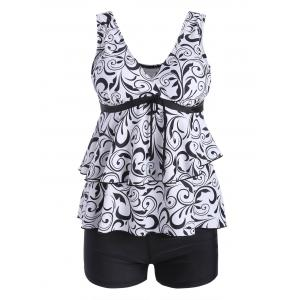 Plus Size Flounce Printed Blouson Tankini Set - White And Black - 2xl