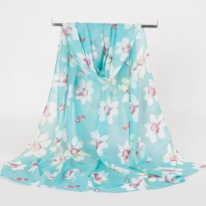 Gossamer Wash Painting Flowers Printing Long Scarf - Blue Green