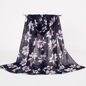 Gossamer Wash Painting Flowers Printing Long Scarf - Cadetblue