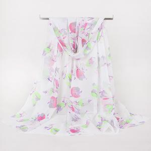 Lightsome Multicolor Flowers Printed Gossamer Scarf - Shallow Pink - M