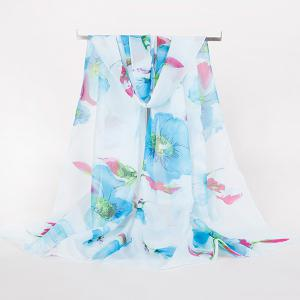 Gossamer Watercolour Floral Printing Long Scarf