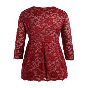Stylish V-Neck Half Sleeve Plus Size Lace Women's Blouse - WINE RED XL