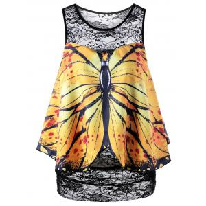Sleeveless Butterfly Print Lace Blouse