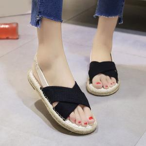 Cross Strap Flat Espadrille Sandals