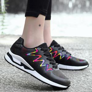 Breathable Striped Multicolor Athletic Shoes - Black - 37