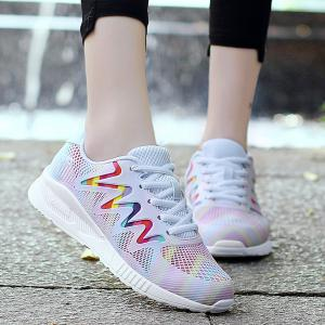 Breathable Striped Multicolor Athletic Shoes - White - 38