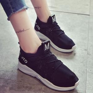 Letter Print Breathable Sneakers - Black - 38
