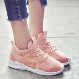 Letter Print Breathable Sneakers - Pink - 38