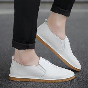 Faux Leather Elastic Band Casual Shoes -