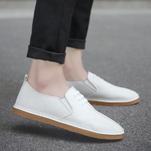 Faux Leather Elastic Band Casual Shoes - White - 40