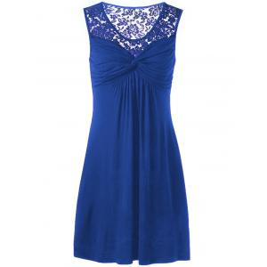 Twist Front Lace Panel Sleeveless Dress - Blue - 2xl