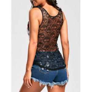 Openwork Lace Back Skull Flower Tank Top