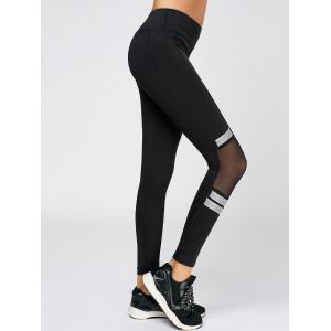 Polka Dot Mesh Trim Running Leggings