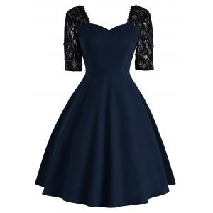 Vintage Lace Insert Fit and Flare Dress - Purplish Blue - S