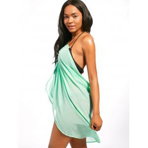 Beaded Rope Strap Chiffon Cover Up Dress - LIGHT GREEN M