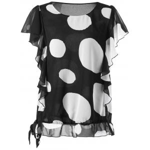Dotted Ruffled Plus Size Blouson Top
