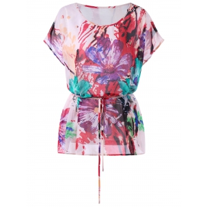 Watercolor Floral Print Plus Size T-shirt