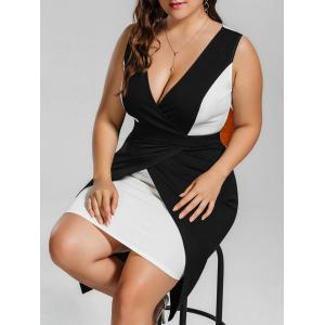Surplice Plus Size Two Tone Bodycon Dress - Black - 2xl