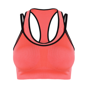 Strappy Padded Double-Layered Sports Bra - ORANGEPINK M