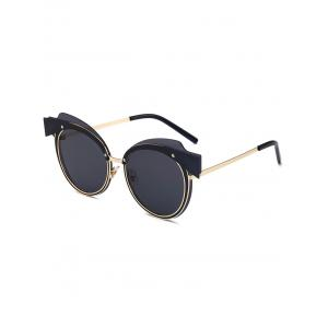Cat Eye Metallic Splicing Top Frame Sunglasses - Black