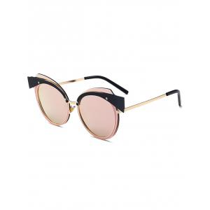 Cat Eye Reflective Metal Spliced Frame Sunglasses