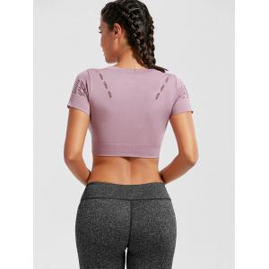 Crew Neck Ripped Sports Crop Running T-shirt - PINK L