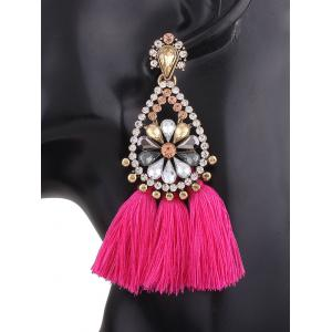 Rhinestone Teardrop Tassel Floral Earrings - ROSE RED
