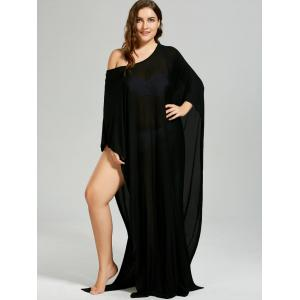 Convertible Collar High Slit Plus Size Cover-up - BLACK ONE SIZE